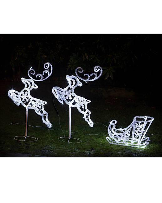light up reindeer and sleigh indoor outdoor xmas festive decoration