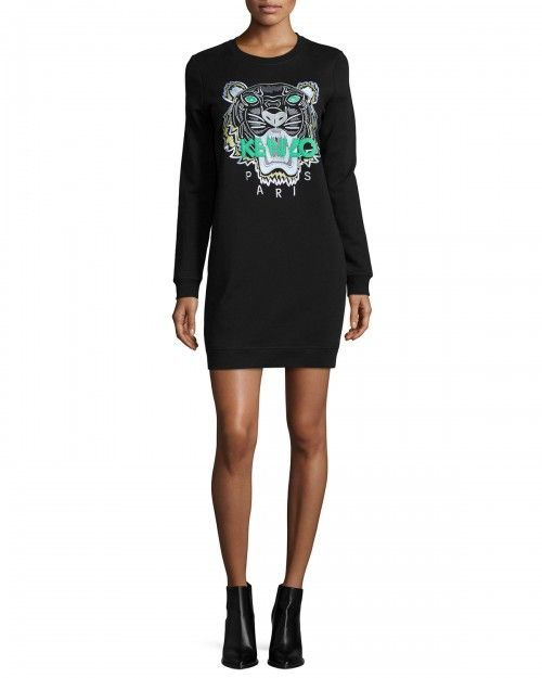 Kenzo+Long+Sleeve+Embroidered+Tiger+Sweaterdress+Black+Women's+Dress+|+Clothing