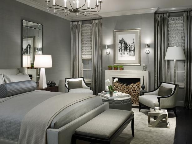 Glamorous Grey Bedroom -- wow! This looks like Irene Dunne or Carole Lombard could walk into this room at any minute!