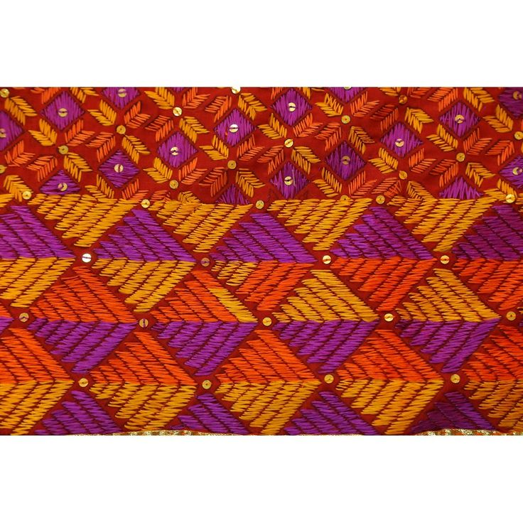 Phulkari hand embroidered cotton floral designed multi coloured stole ( Punjabi Phulkari Dupattas) Price:3,600INR
