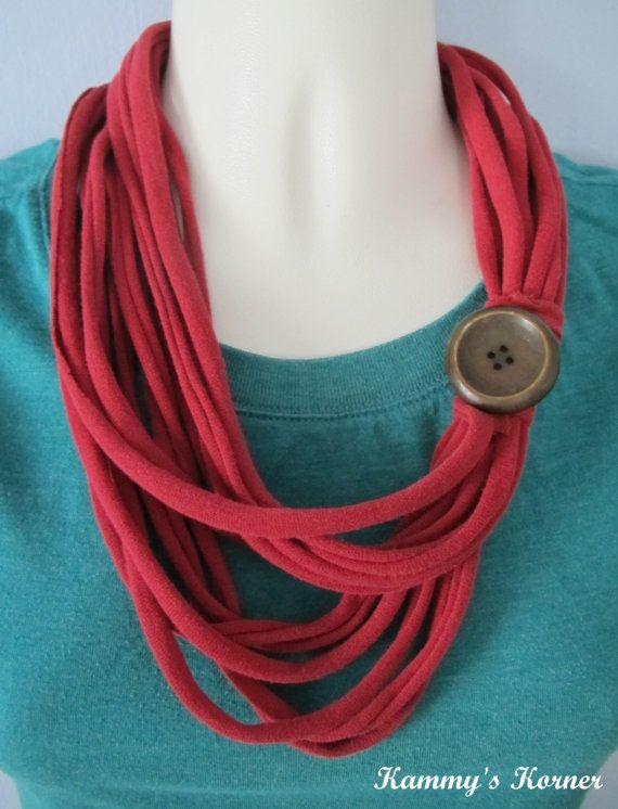 Infinity TShirt Scarf Necklace  Red by KammysKornerShop on Etsy, $7.00