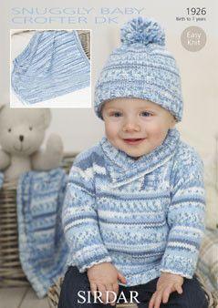 Sirdar Pattern 1926 Snuggly Baby Crofter DK Shawl Collared Sweater Size 0-6 mths 6-12 mths 1-2 yrs 2-3 yrs 4-5 yrs 6-7 yrs Snuggly Baby Crofter DK - Shade 152 2 3 3 4 5 6 50g balls Turn Back Hat Size