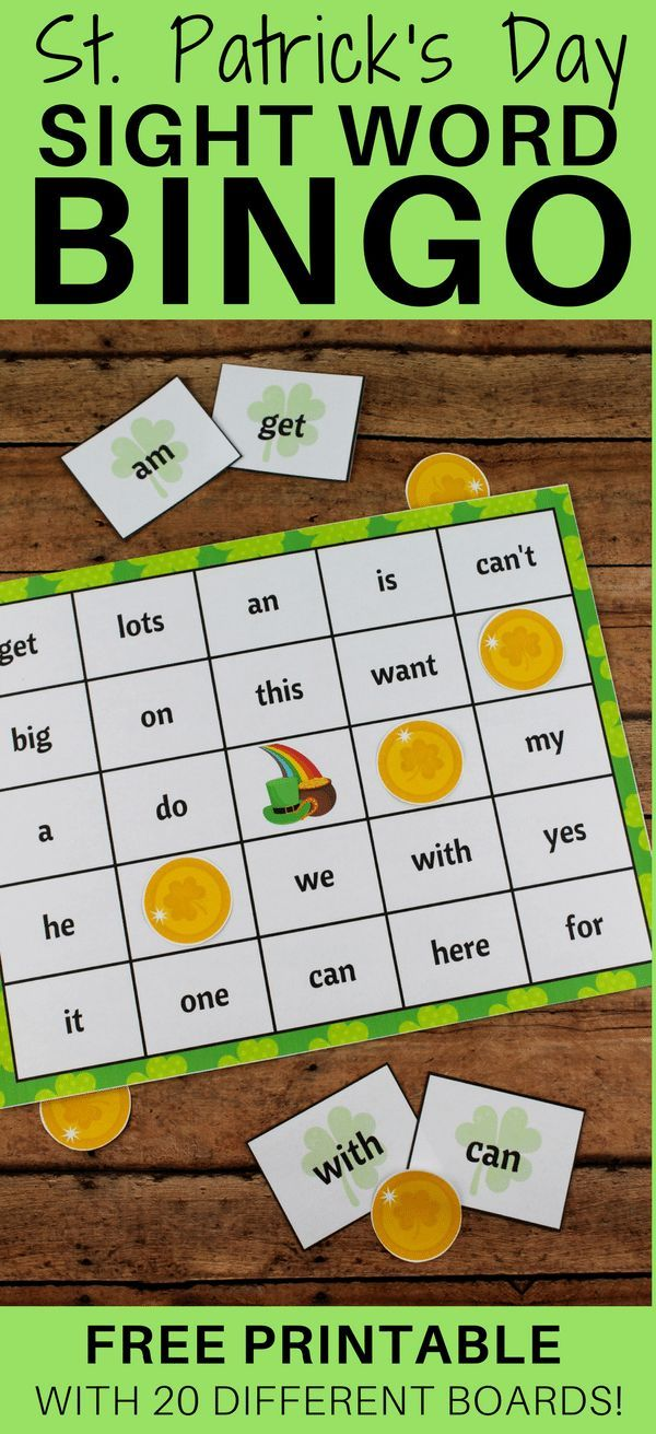 St. Patrick's Day Bingo is a fun and educational kids activity packed with 60 high frequency sight words (aka power words) and perfect to play in the classroom or at home. Download the free printable bingo boards, bingo markers, and flashcards, cut them out, and you will be ready to play the game. #stpatricksday #sightword #Bingo #printablegames #freeprintable