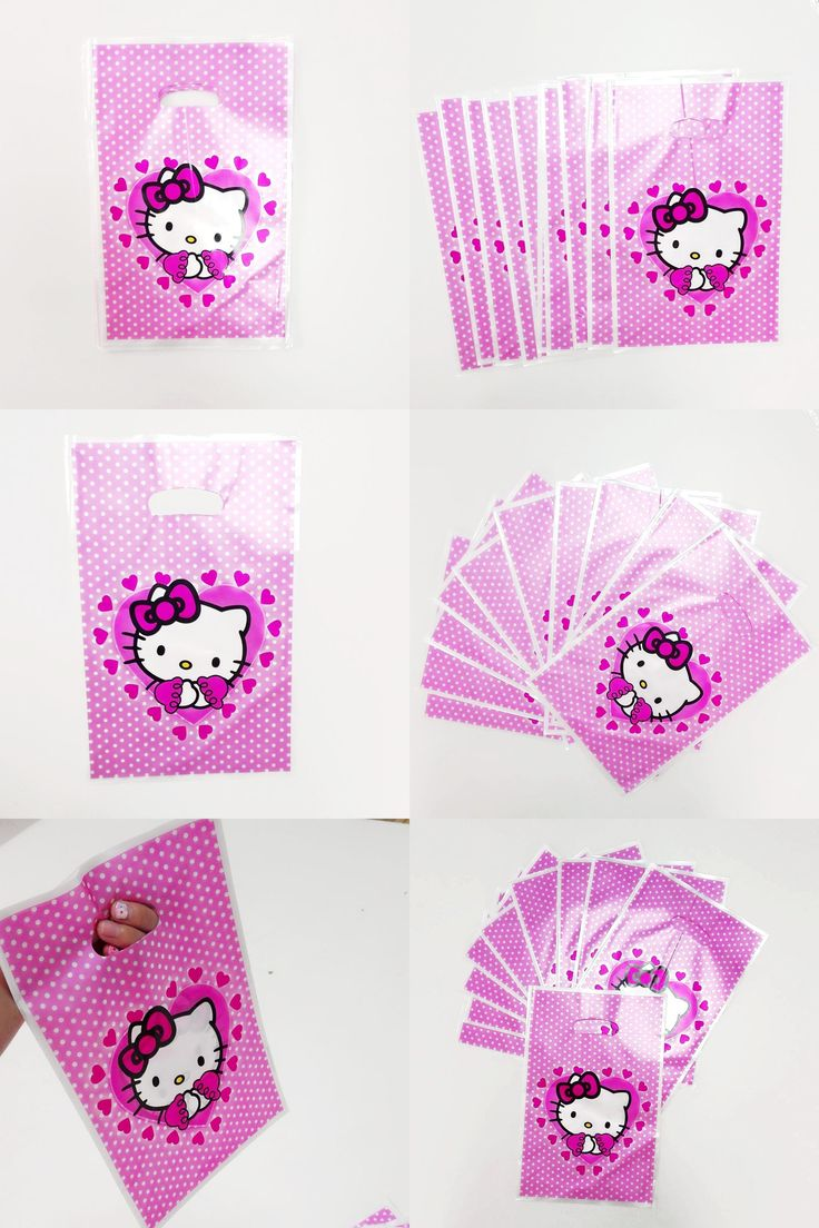 [Visit to Buy] 10pcs/set Hello Kitty Party Supplies Gift Bag Cartoon Theme Party For Kids/Boys Happy Birthday Decoration Theme Party Supplies #Advertisement