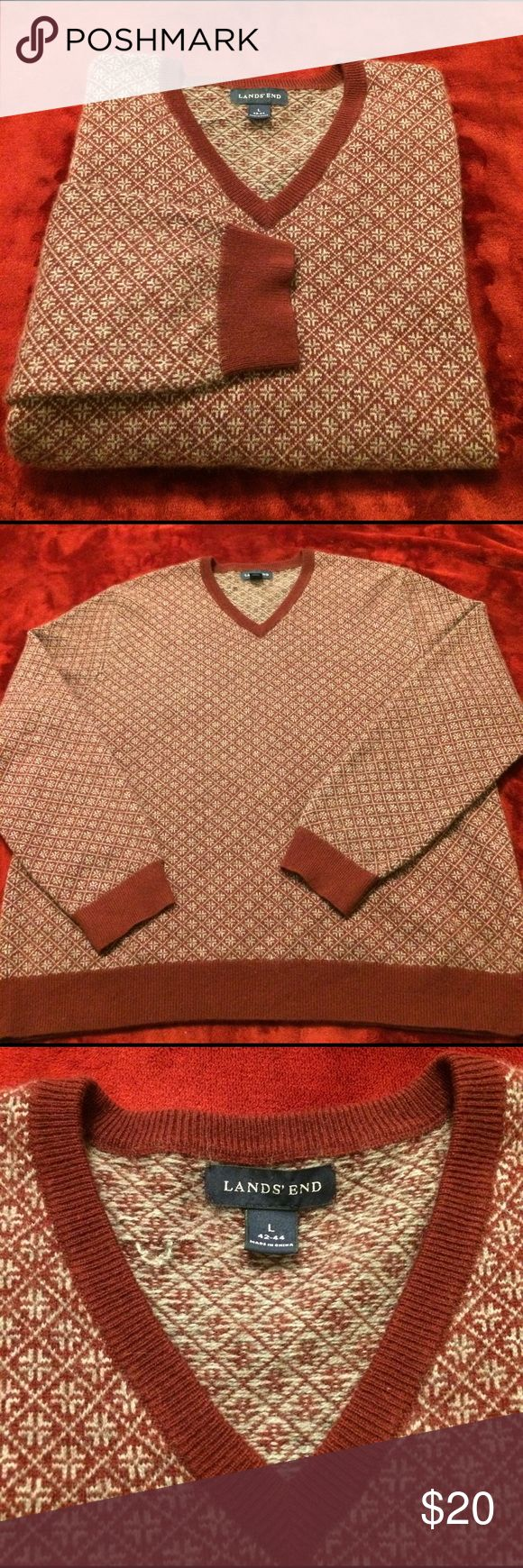 Lands end Large size 42-44 men's Cashmere Sweater Like new condition red grey color. Very soft Cashmere 100% Lands' End Sweaters V-Neck