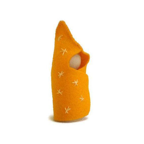 Felt Peg Doll Golden Yellow Starburst Baby by MissTreeCreations, $5.00