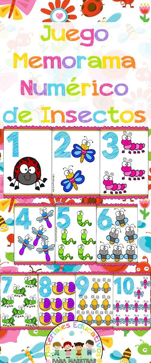 Juego memorama de cartas para niños para imprimir y trabajar los números. Ideal para preescolar e infantil. Juego de memoria para  niños para trabajar la atención, la observación y la concentración.