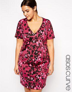 ASOS CURVE Exclusive Scuba Dress in Coloured Animal Print