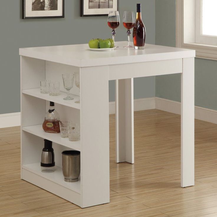 Monarch Clayton White Square Counter Height Table with Shelf Storage - I 1345