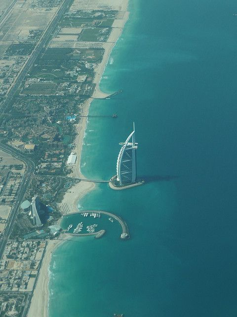 Taken shortly after take off from Dubai showing the Burj al Arab and  the Jumeirah Beach Hotel
