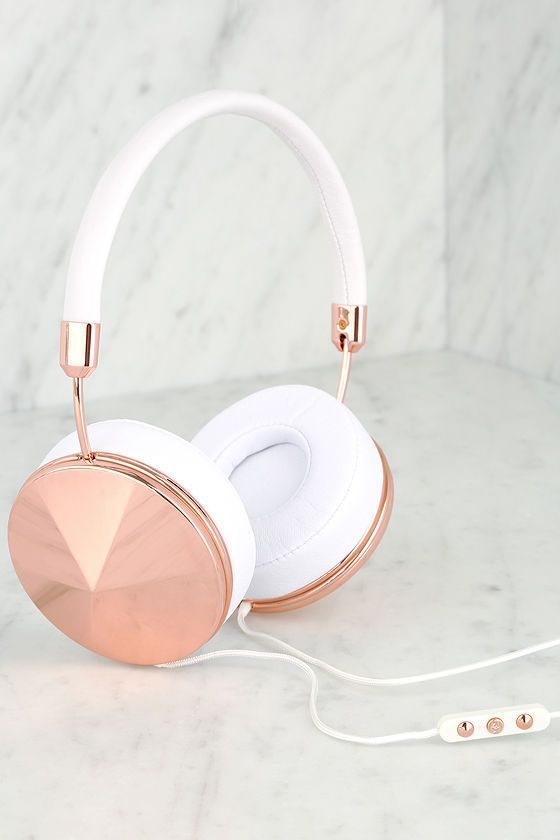Rose Gold and White Headphones//