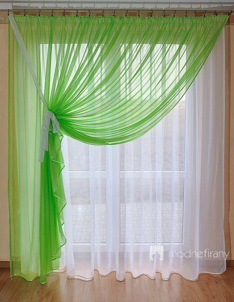 OLIMPIA - zielony komplet firan do salonu - 3 możliwe upięcia
