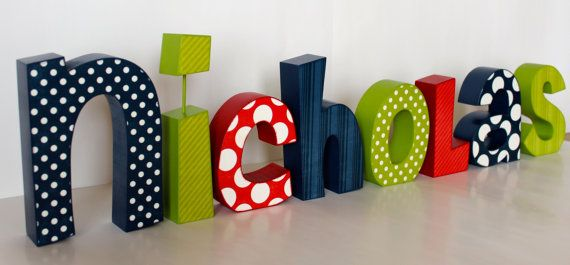 Nursery Decor Wooden Name Block Custom by JulesWoodnCreations, $90.00