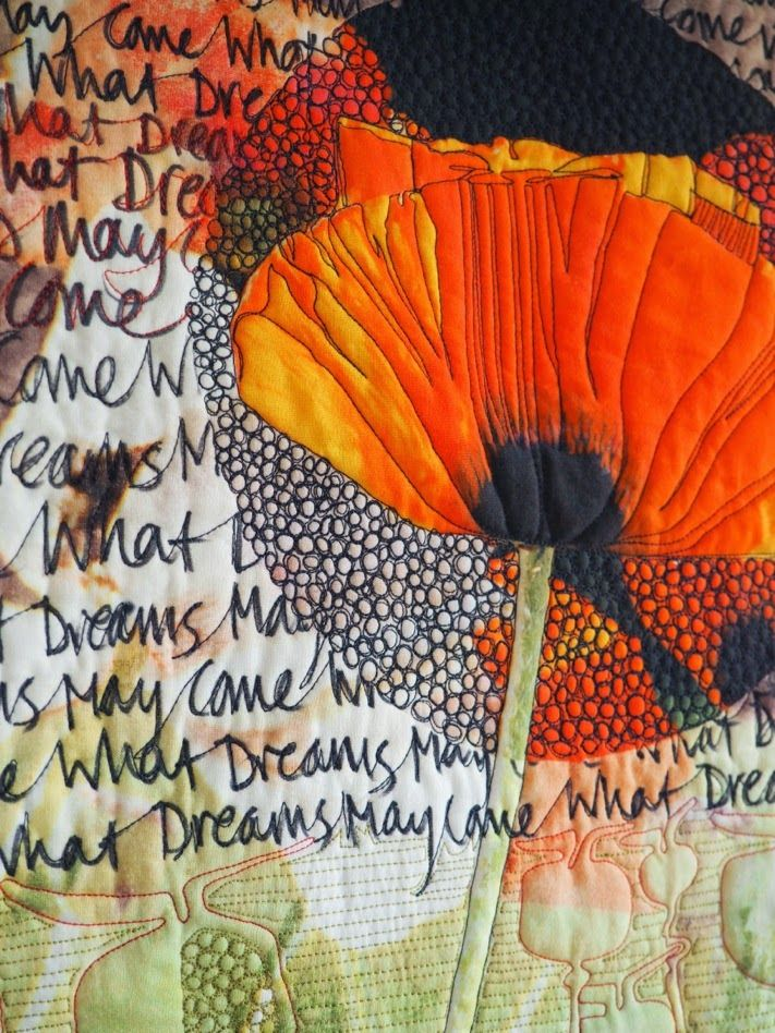 """What Dreams May Come?"", detail. Quilt by Laura Kemshall. www.laurakemshall.com"