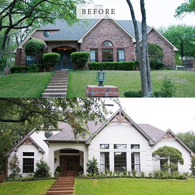 Painted Brick And Wooden Accents Have Transformed This House Fixerupperhgtv Dallas Paint Comp Brick Exterior House Home Exterior Makeover Exterior Brick