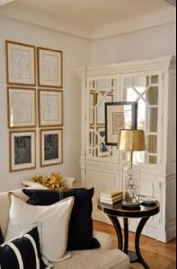 Megan Winters - art on cabinet & walls - colours reversed