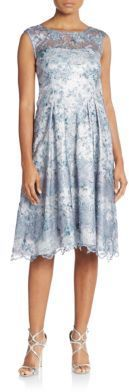 Kay Unger Embroidered & Embellished Illusion-Top Dress