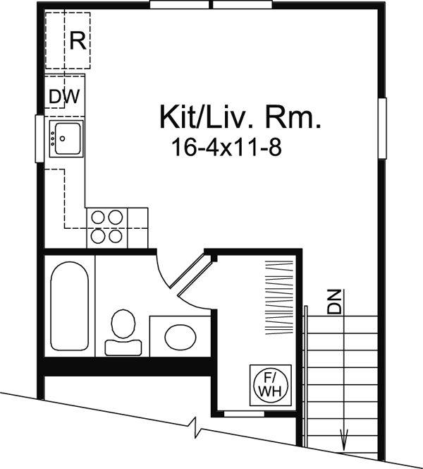 Saltbox Style 1 Car Garage Apartment Plan Number 95826 ...