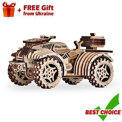 uad Bike ATV Wooden 3D Puzzle WOOD TRICK Mechanical Model Kit for Kids  Adults2  Year - 2017, Recommended Age Range - 14 years and up, Material - Polished plywood, Movement - Mechanical, Connection - Without Glue, Average build time - 2 hours, Complexity of assembly - Average Level, Size of the model - 7.08 x 3.94 x 3.74 in (180 x 100 x 95 mm), Character Family - 3D puzzle, Bundle Listing - No, Number of parts - 165, Assembly - Yourself, Gender - Boys  Girls, Type - Сonstructor, Them