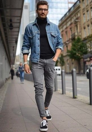 Men's Blue Denim Jacket, Navy Turtleneck, Grey Skinny Jeans, Black and White Low Top Sneakers