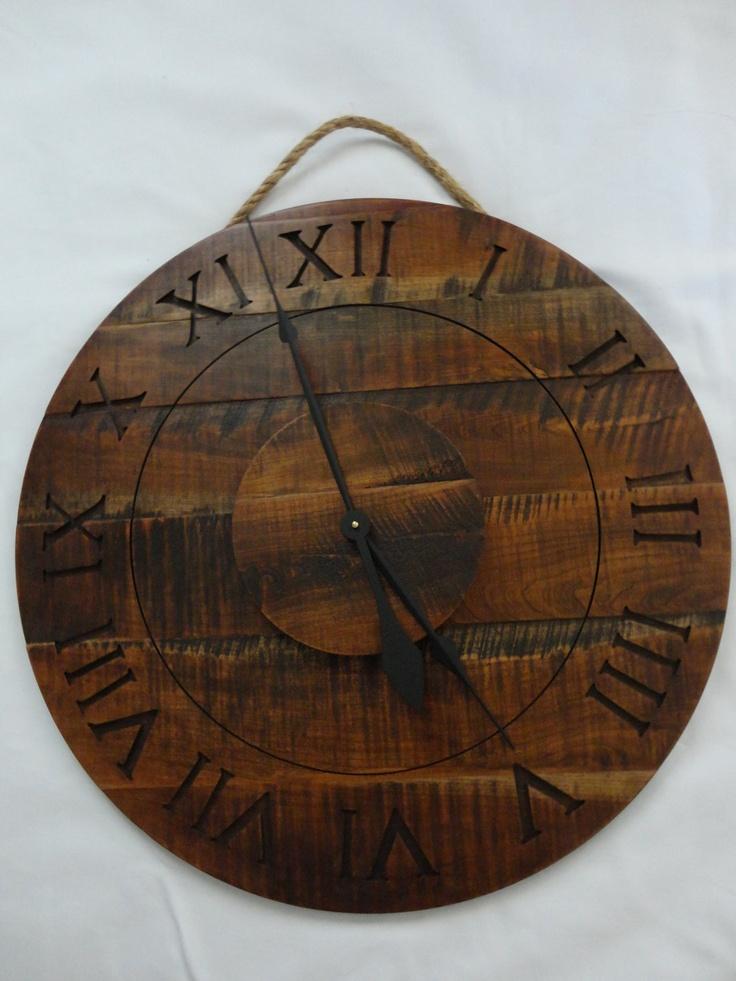 Salvaged Wood Wall Clock In Dark Walnut Scroll Saw Out