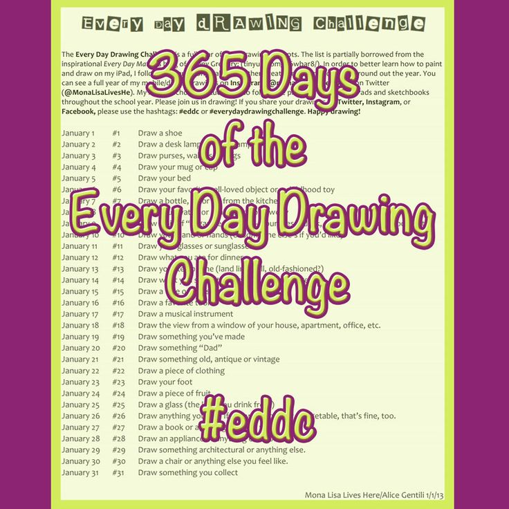 365 Days of the Every Day Drawing Challenge PDF. The perfect project to get me back into drawing.