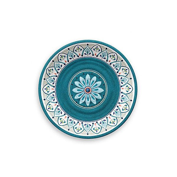 Moroccan Melamine Dinner Plates Teal Set of 4 Dinner Plates ($49) ❤ liked on Polyvore featuring home, kitchen & dining, dinnerware, teal dinner plates, teal dinnerware, shatterproof dinnerware, melamine dinner plates and melamine outdoor dinner plates