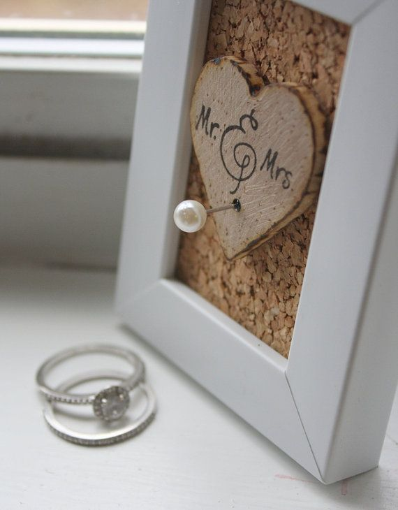 Wedding Ring Holder Frame Rustic Shabby Chic by thepaperynook