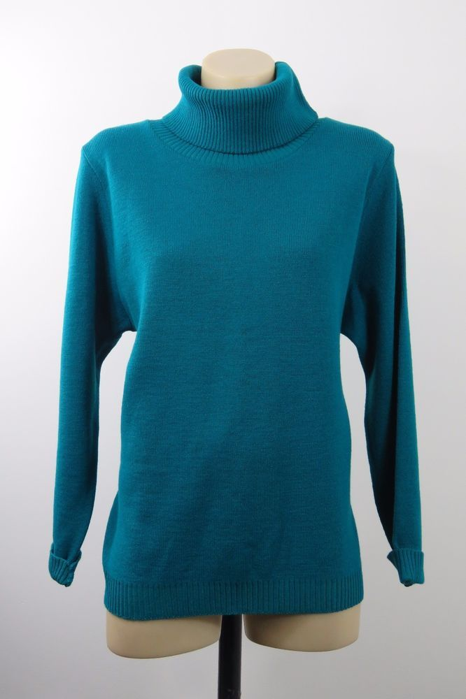 Size M L 12 Ladies Green Knit Top Jumper Business Turtleneck Casual Boho Chic #ElegantBody #Blouse #Casual
