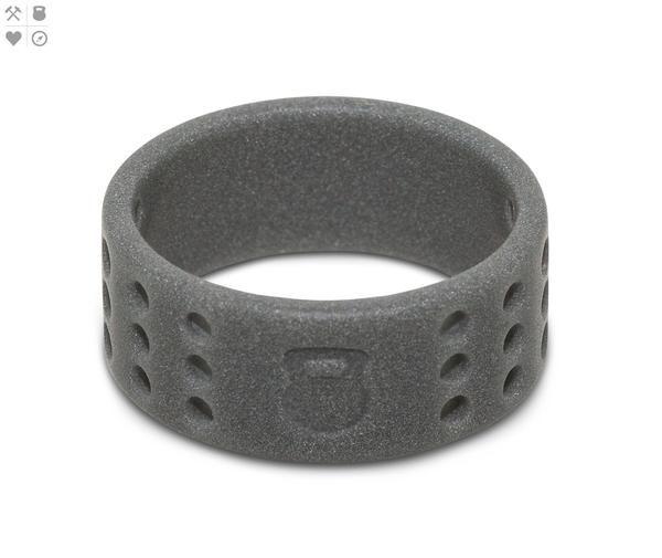 QALO Men's Smoke Grey Perforated Silicone Ring