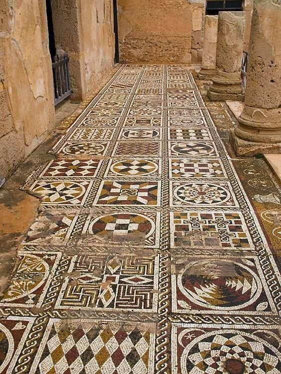 "Mosaic floors, Villa of Silene, Leptis Magna, Liby. The Roman city became prominent in the 4th century BCE. ""It nominally remained part of Carthage's dominions until the end of the Third Punic War in 146 BC and then became part of the Roman Republic, although from about 111 BC onward, it was for all intents and purposes an independent city."" wiki"
