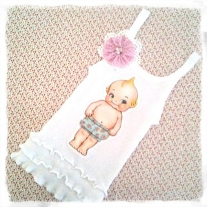 Gorgeous appliqued singlet by Oopsidaisi  featuring a sweet little Kewpie Doll by the fabulous Australian artist  ~ Bec Winnel  embellished with a pink gingham flower