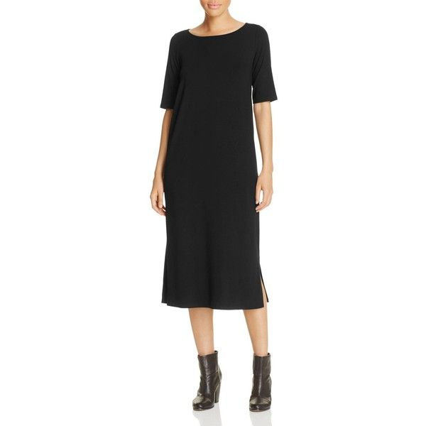 Eileen Fisher Petites Ballet Neck Dress (108.875 CRC) ❤ liked on Polyvore featuring dresses, black, petite, petite midi dress, midi dress, petite dresses, mid calf dresses and calf length dresses