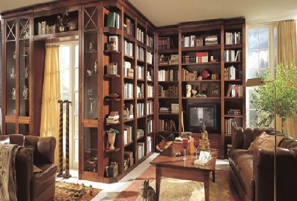 wood-bookcase-design-for-home-library