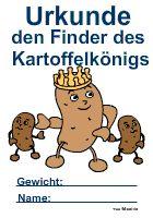 Urkunde für den Finder des Kartoffelnkönigs