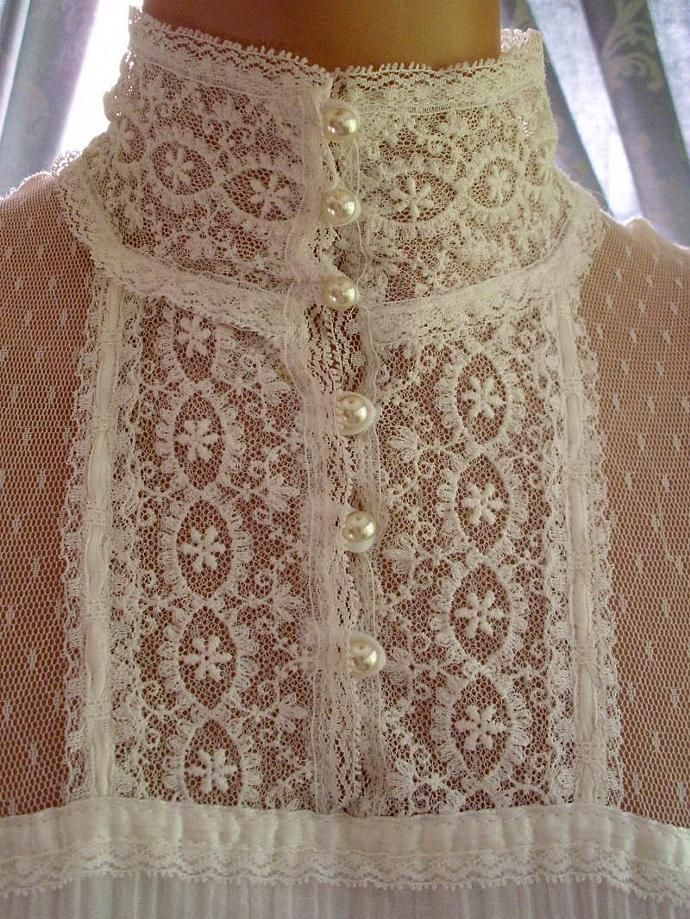 High-necked Lacy Dress Bodice with Pearl Buttons & Rouleau Loop Fastening ....