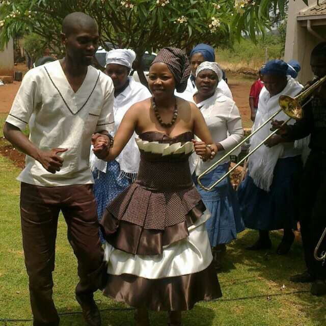 cute south african traditionaliste wedding dress for her n shirt for him. Tswana culture