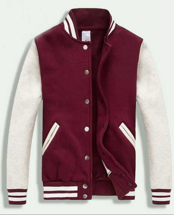 2013 Dark Red White Varsity Baseball Jacket Women