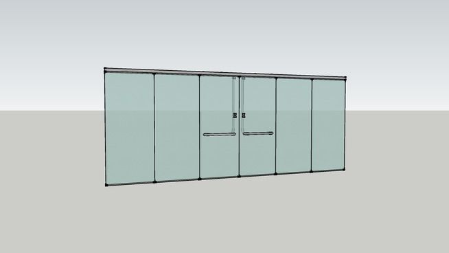 Large preview of 3D Model of Frameless Glass Partition & Doors