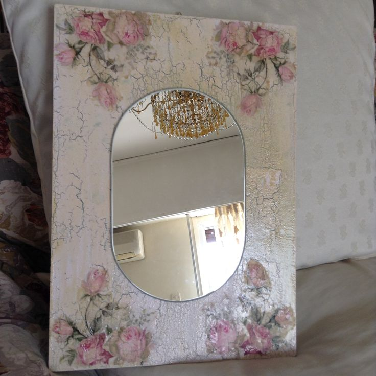 Crackled painting aging & decoupage hand made mirror