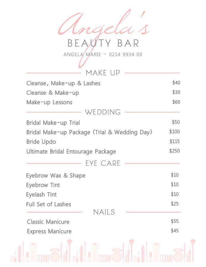 Pin By Chofo Domblide On Bbk In 2020 Beauty Salon Price List Salon Price List Price List Template