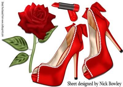 Pretty red and pearl shoes on lace with rose A4 on Craftsuprint - Add To Basket!