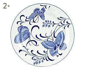 Set de 2 platos decorativos de porcelana Nora, blanco y azul – Ø20