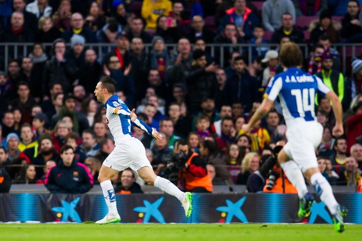 Sergio Garcia of RCD Espanyol celebrates after scoring the opening goal during the La Liga match between FC Barcelona and RCD Espanyol at Camp Nou on December 7, 2014 in Barcelona, Catalonia.