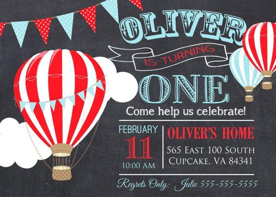 Hot Air Balloon Birthday Party Invitation 5x7 or 4x6  Blue