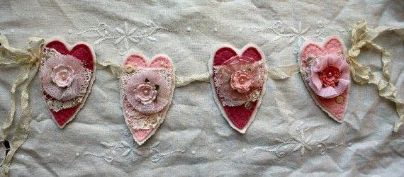 Shabby Felt HEART Garland HANDMADE with by sugarlumpstudios