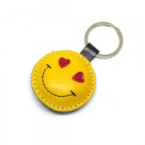 Love Smiley Emoticon Yellow Leather Keychain
