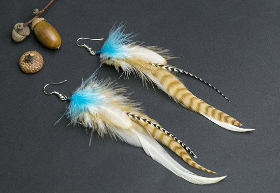 White and turquoise feather earrings: by NatureFeatherJewelry