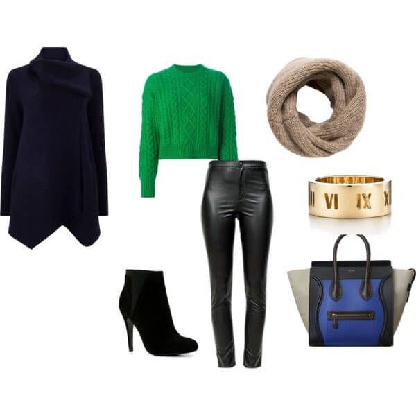 ярко-зеленый свитер с черными кожаными брюками, темно-синим пальто с запахом и  бежевым шарфом