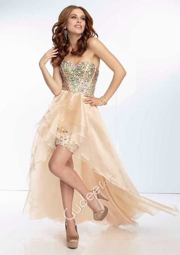 gold high low prom dresses
